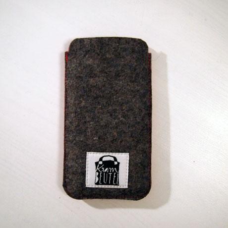 Smartphone Hülle Etui Wollfilz pink grau krambeutel