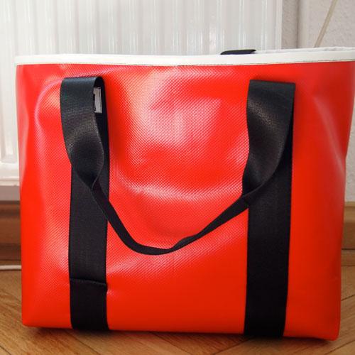 Einkaufstasche LKW-Plane, rot, Autogurt, krambeutel