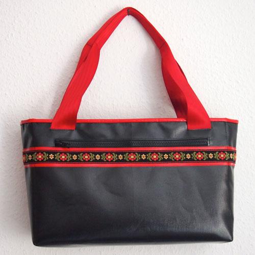 Einkaufstasche schwarz mit Trachtenborte