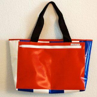 Einkaufstasche LKW-Plane, blau, weiß, streifen, rot, Außenfach, Autogurt, krambeutel