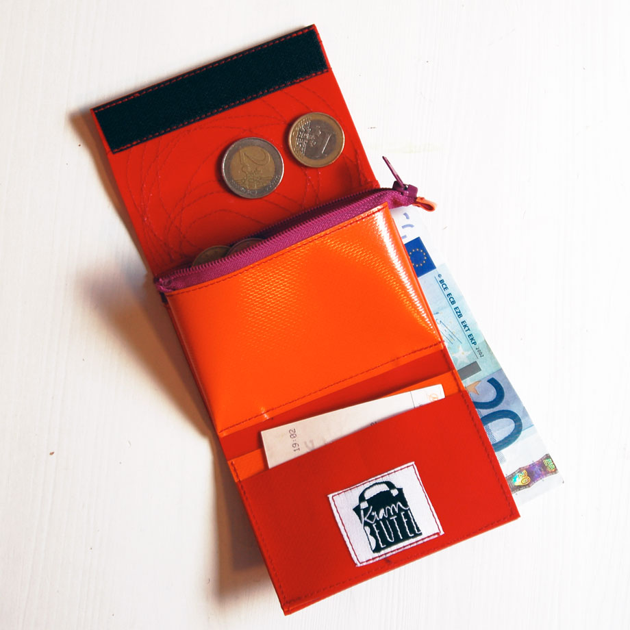 Geldbeutel Mini aus LKW-Plane www.krambeutel.de krambeutel Deine Wunschtasche Stefanie Ramb München