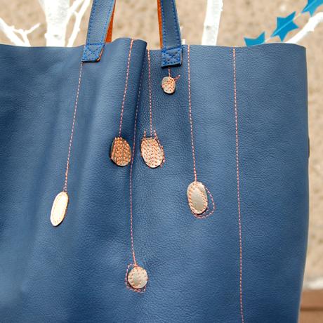 blaue Ledertasche Shopper krambeutel Deine Wunschtasche www.krambeutel.de München Stefanie Ramb