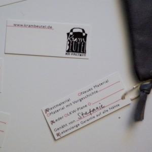 neue Produktanhänger an jedem krambeutel - woher kommt das Material? Wer hast gemacht? krambeutel Deine Wunschtasche www.krambeutel.de Stefanie Ramb München maßgeschneiderte Taschen und Beutel aus recycelten und Restmaterialien.