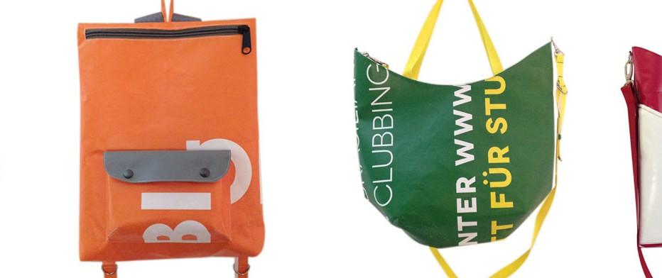 Taschen aus Werbebannern, maßgeschneidert von krambeutel Deine Wunschtasche www.krambeutel.de Stefanie Ramb München